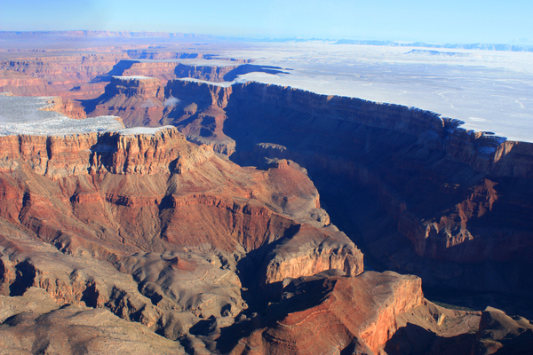 Grand Canyon 3: The Grand Canyon with snow in the winter season. Photo is made by me out of an airplane.