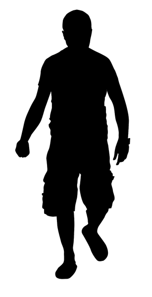 Man walking: Silhouette.