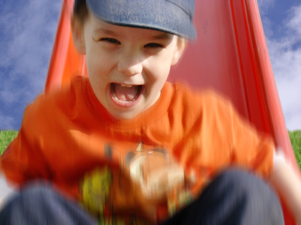 Weee: Child sliding down on toboggan