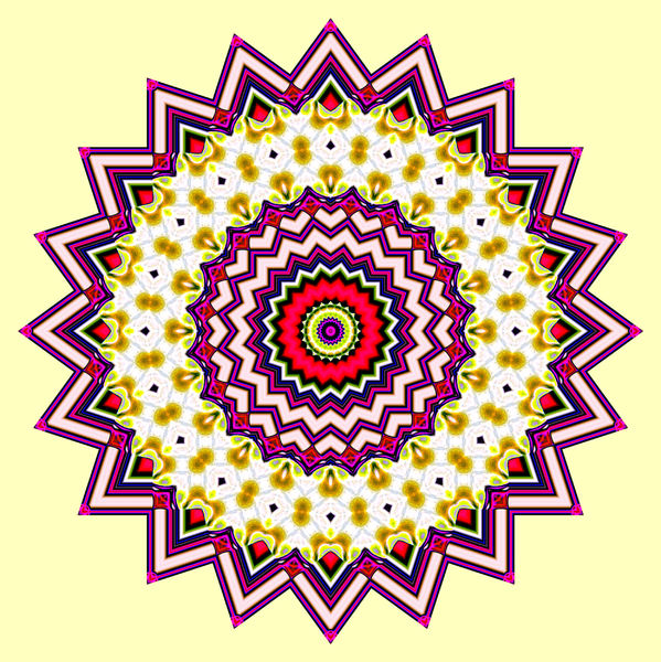 red & gold mandala: abstract background, texture, kaleidoscopic pattern and perspectives