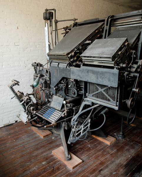Linotype: A Linotype machine.