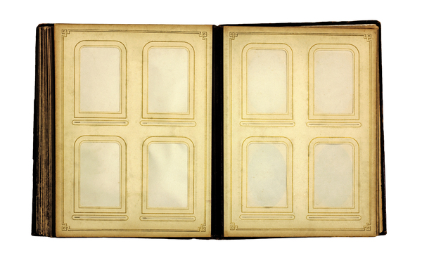 Blank Photo Album: Very old photo album pages with no pictures inserted