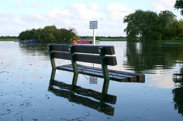 Bench underwater: Bench underwater due to flooding