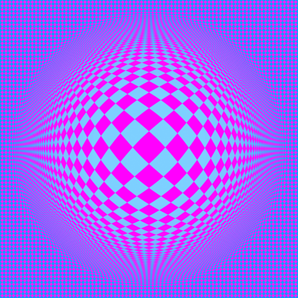 Op Art 3: A colourful op-art 3d warp image made of geometric diamond shapes.