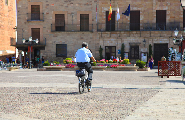 Man with bicycle: Almagro, Spain