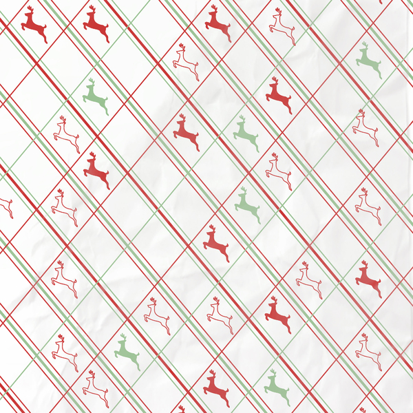 Christmas paper with reindeer: Christmas paper pattern with lines and reindeer