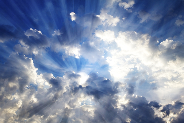 Glorious sky: Genuine sky with rendered light beams.