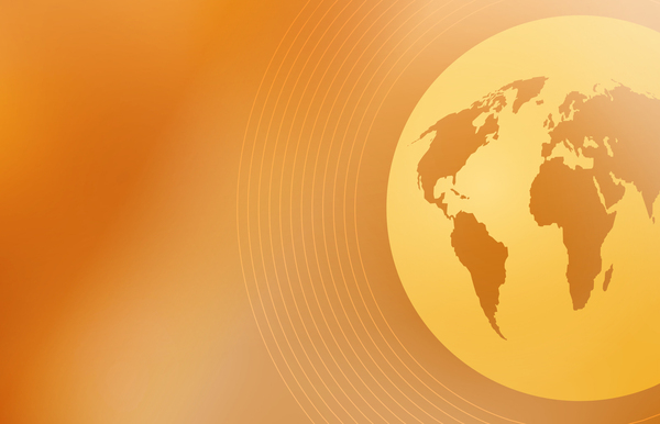 Global Background: Gold globe background.