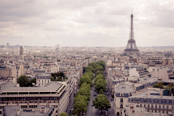Paris City Skyline 2: View of Paris city skyline from above the Arc De Triomphe