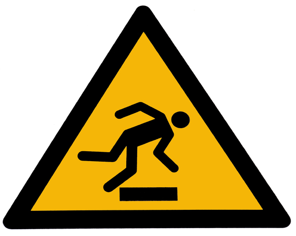 caution tripping hazard: Danger sign caution tripping hazard