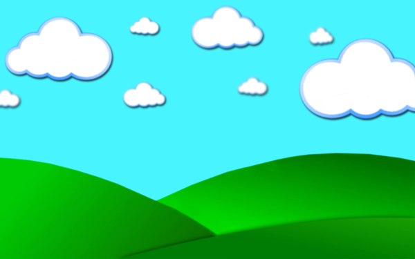 Cartoon Clouds: Cartoon clouds and hills