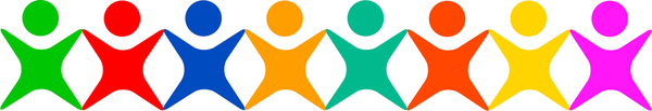 Icon Team: Simple graphic of a group of people linked together in unity.