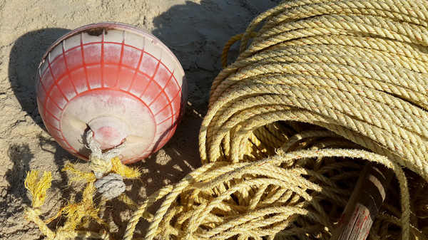 Rope and Buoy: Rolled yellow rope with a pink and white buoy on the sea shore.