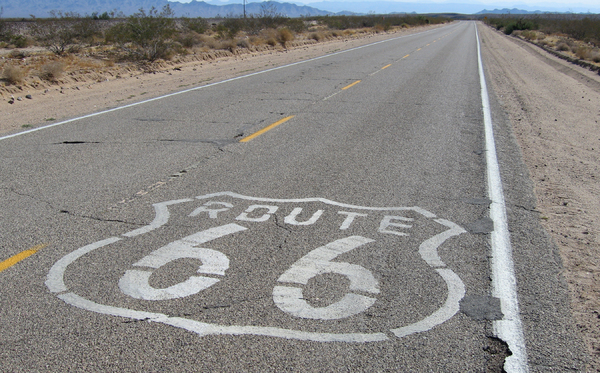 Route 66 sign: Markings on the road in the USA