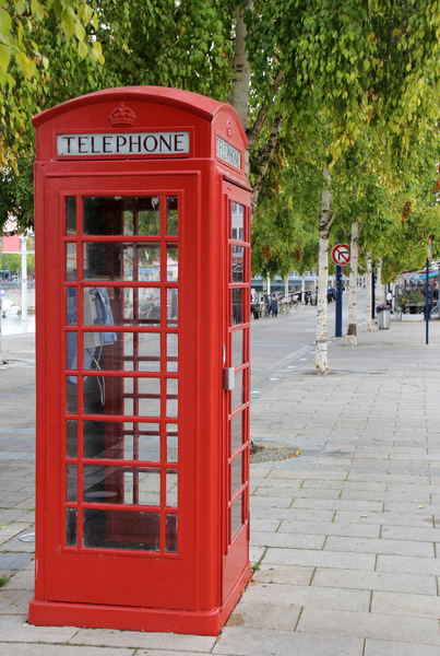 Phone booth: Red English phone booth