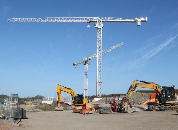Cranes: Cranes at a new hospital wing in South Wales.