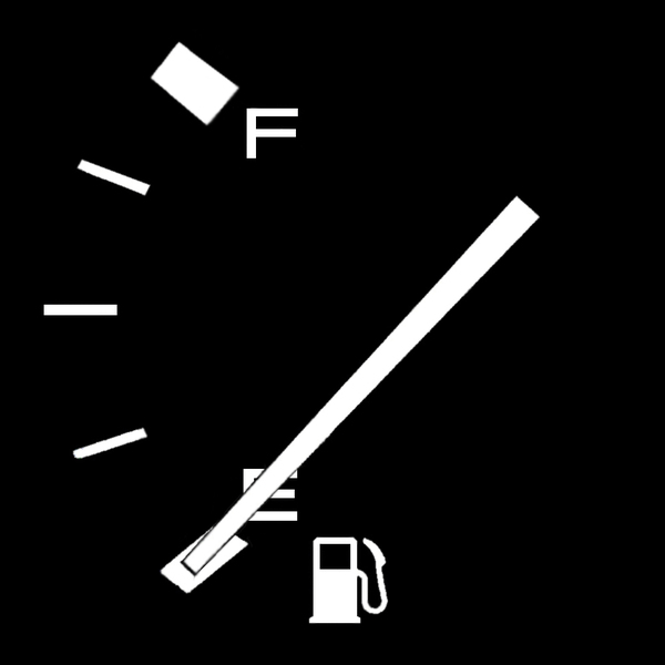 Empty Tank: Fuel gauge showing an empty tank