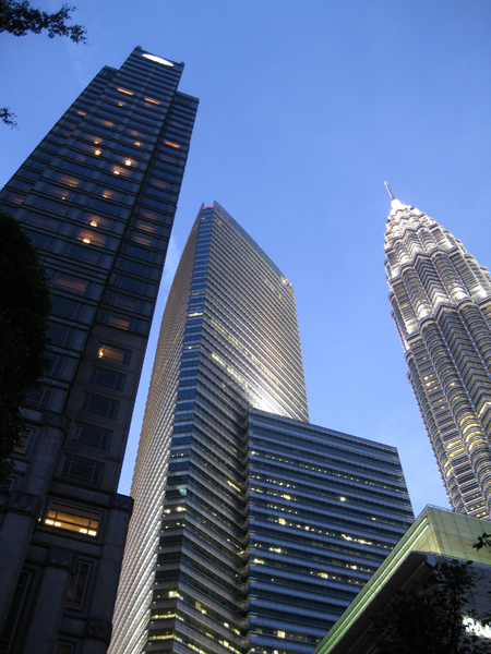 Skyscrappers: Evening walk in Kuala Lumpur. I went to KLCC to take picture of this well-known landmark and its surrounding buildings