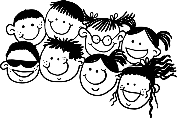 Happy Kids Faces: Doodle kids faces.