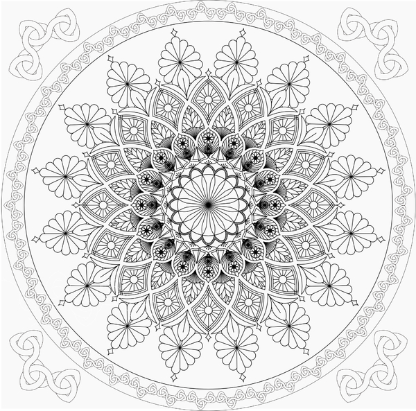 Mandala 2 bis b/w: Mandala to print and color