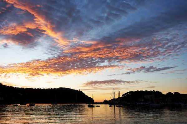 Harbour sunset: Sunset at Port de Soller, Majorca, Balearic Islands, Spain.
