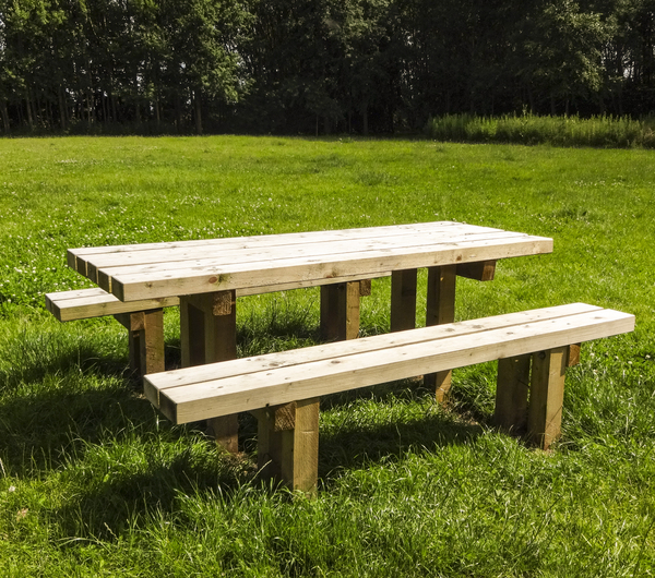 Picnic Bench: A picnic bench in a country park.