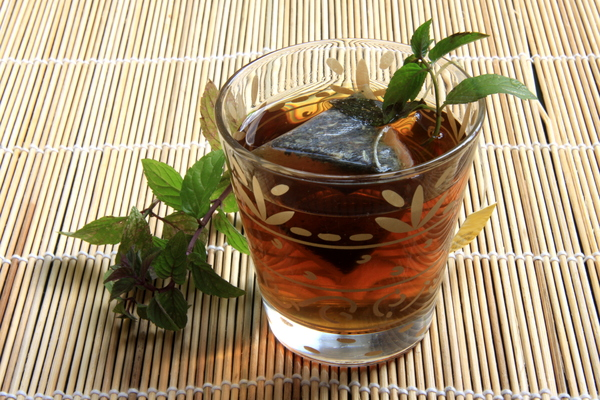 Peppermint tea: Mit tea with mit branches and tea bag